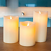 Set of 3 Wax Battery Dancing LED Flame Candles