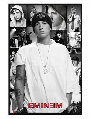 Gloss Black Framed Eminem Slim Shady Collage Poster
