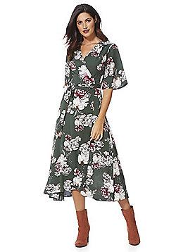 Stella Morgan Floral Wrap Midi Dress - Green