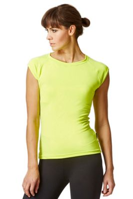 Reflective Running Cap Sleeve T-Shirt with Cut Out Yellow XS