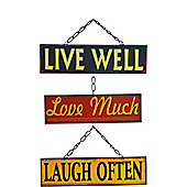 Nicola Spring Hanging Metal 3 Panel Wall Plaque - Live Well, Love Much, Laugh Often