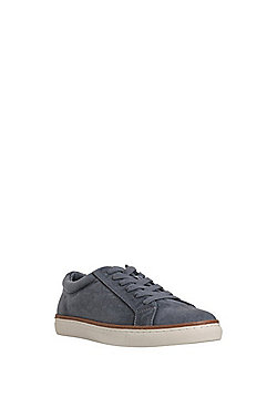 F&F Washed Canvas Lace-Up Trainers - Blue/Grey