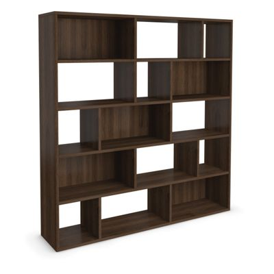 Urbane Designs Hadlee Contemporary Walnut Livingroom Large Asymmetric Shelf