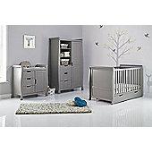 Obaby Stamford Cot Bed 5 Piece Nursery Room Set/Sprung Mattress/Quilt and Bumper Set - Taupe Grey