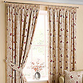 """Homescapes Cotton Red Ready Made Curtain Pair Butterfly Design 46x54"""""""