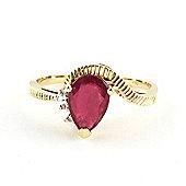 QP Jewellers Diamond & Ruby Belle Diamond Ring in 14K Gold