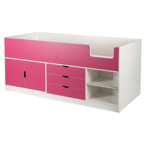 Jasper Midsleeper Cabin Bed White/Pink