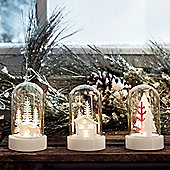 Set of Three Battery Light Up LED Glass Domes with Christmas Scenes