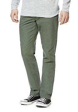 F&F Canvas Straight Leg Trousers - Khaki