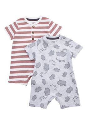 F&F 2 Pack of Rhino Print and Striped Rompers Grey/Red Newborn