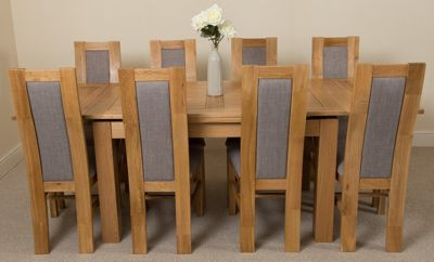 Richmond medium Extending Solid Oak Dining Table & 8 Solid Oak Fabric Chairs