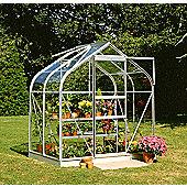 Halls 6x4 Curved Aluminium Greenhouse + Aluminium Base - Horticultural Glass