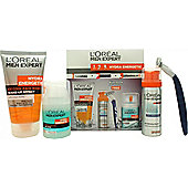 L'Oreal Men Expert Hydra Energetic Gift Set 50ml Fresh Extreme Anti-Perspirant Deo Roll-On + 50ml Charcoal Wash + 20ml Anti-Fatigue Moisturiser + 50ml