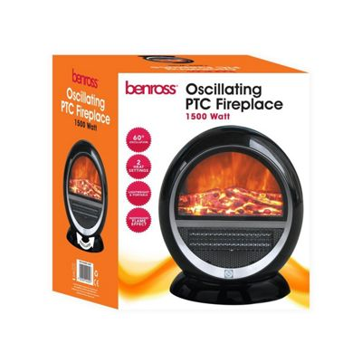 Black 1500W Ceramic Oscillating Fireplace Flame Effect Heater