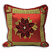 Riva Home Poinsettia Red Christmas Cushion Cover - 40x40cm