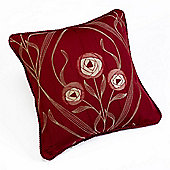 Rectella Montrose Red Corded Jacquard Square Cushion Cover -46x46cm
