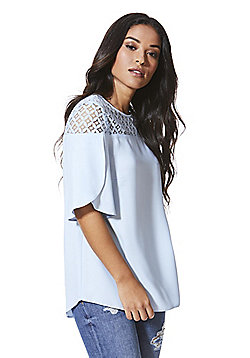 F&F Lace Yoke Tulip Sleeve Top - Pale blue
