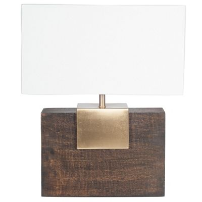 Wood & Metal Table Lamp with White Handloom Shade (490x400x150)