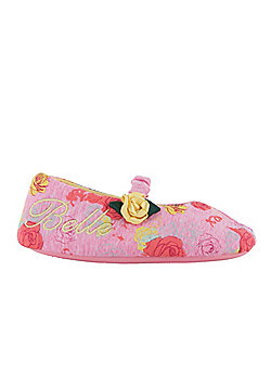 Girls Disney Princess Slippers Belle Beauty And The Beast Infant Various Sizes - Pink