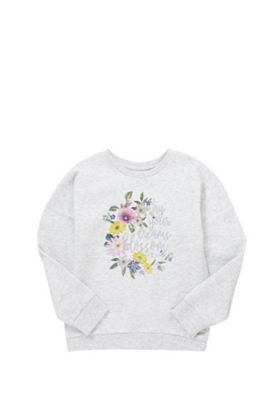 F&F Floral Slogan Sweatshirt Grey Marl 5-6 years