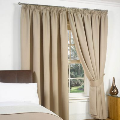 Dreamscene Pair Thermal Blackout Pencil Pleat Curtains, Beige - 66