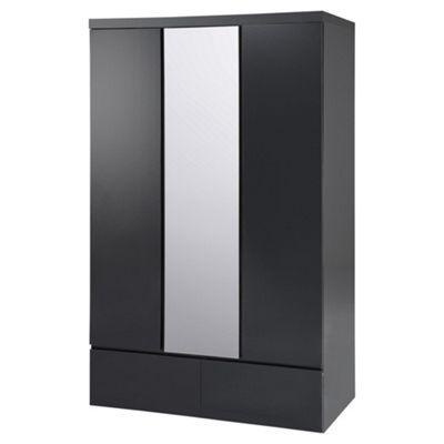 Maine Triple Wardrobe with 2 Drawers, Black Gloss