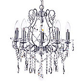 Litecraft Waterford Large Holly 5 Bulb LED Bathroom Chandelier, Chrome