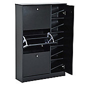 Homcom Wooden Shoe Rack Modern Storage Cabinet w/ 4 Doors Hallway Furniture - Black