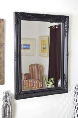 Large Antique Style Rectangle Wall Mounted Black Wood Mirror 3Ft8x2Ft8 110x79cm