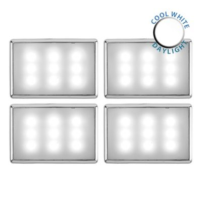 Pack of 4 Creola Chrome LED Under Cabinet Lights, Cool White