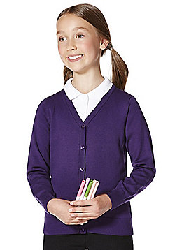 F&F School Girls Ribbed Cardigan with As New Technology - Purple