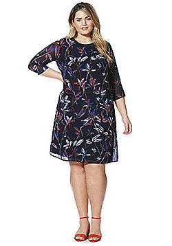 Junarose Floral Print Plus Size Shift Dress - Multi
