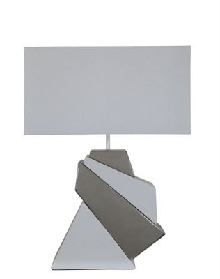 Medium White & Silver Contour Design Masonry Table Lamp With Pure White Shade.