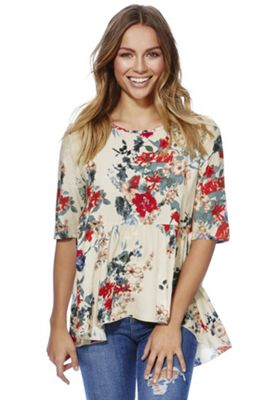 Only Floral Print Peplum Top XS Beige