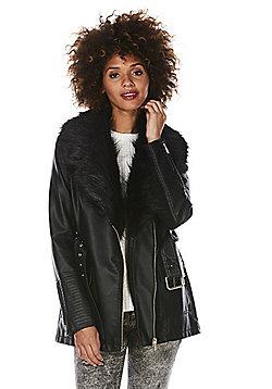 F&F Faux Fur Trim Long Line Belted Biker Jacket - Black
