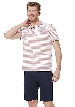 F&F Striped Polo Shirt - Pink/White
