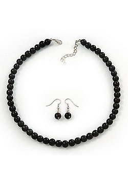 Black Glass Bead Necklace & Drop Earring Set In Silver Metal - 38cm Length/ 4cm Extension