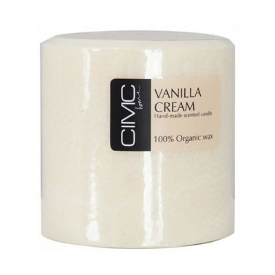 Vanilla Cream Scented Large Pillar Candle/Enrich Living Space