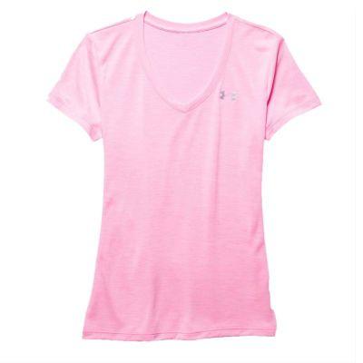 Under Armour Tech SS V-Neck Tee - Twist - Pink Craze/Silver Size - L