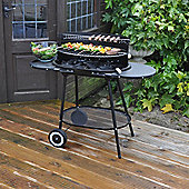 Kingfisher Steel Oval Trolley Coal Barbecue BBQ With Side Tables