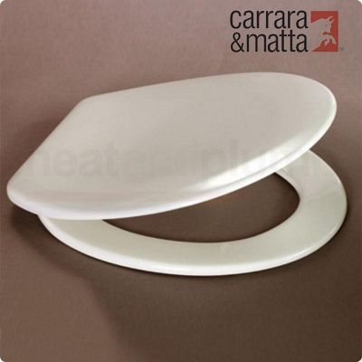 Carrara and Matta Nord Silentium Thermoset Luxury Toilet Seat, White, Soft Close Polished Stainless Steel Hinges