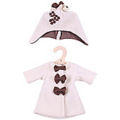 Bigjigs Toys Beige Rag Doll Fleece Coat and Hat for 38cm Soft Doll - Suitable for 2+ Years