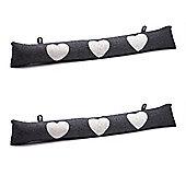 Door Draught Excluders - Grey Herringbone Pattern With Hearts & Hanging Hooks - Pack of 2