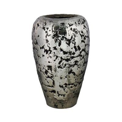 Silver And Black Large Crackle Vase