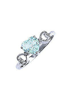 QP Jewellers Diamond & Aquamarine Trinity Heart Ring in 14K White Gold