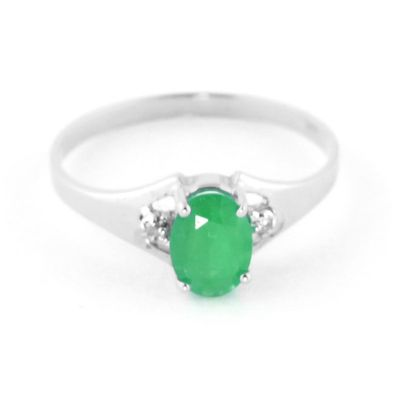 QP Jewellers Diamond & Emerald Oval Desire Ring in 14K White Gold - Size B
