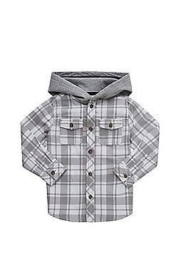 F&F Checked Hooded Shirt - Grey