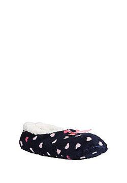 F&F Heart Print Slipper Socks - Blue & Pink