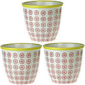 Patterned Plant Pot. Porcelain Indoor / Outdoor Flower Pot - Red / Yellow Swirl Design - Box of 3