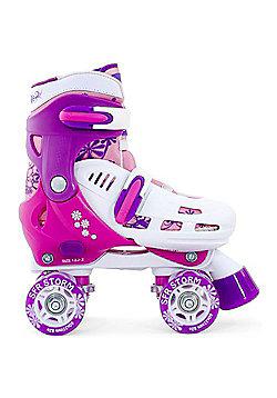 SFR Vision Canvas Kids Quad Roller Skates - Blue Jeans - Pink